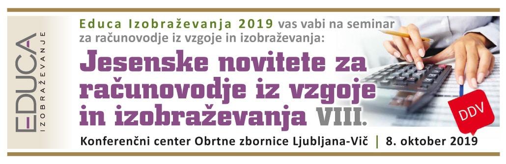 Jesenske novitete za računovodje iz vzgoje in izobraževanja- 2019
